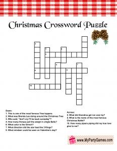 Free Printable Christmas Crossword Puzzle