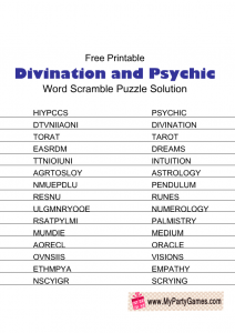 Divination and Psychic Word Scramble Puzzle Solution