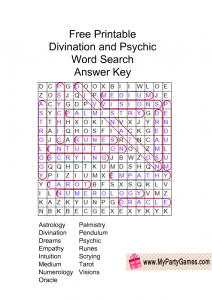 Divination and Psychic Word Search Puzzle Solution