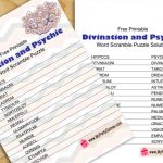Free Printable Divination and Psychic Word Scramble Puzzle