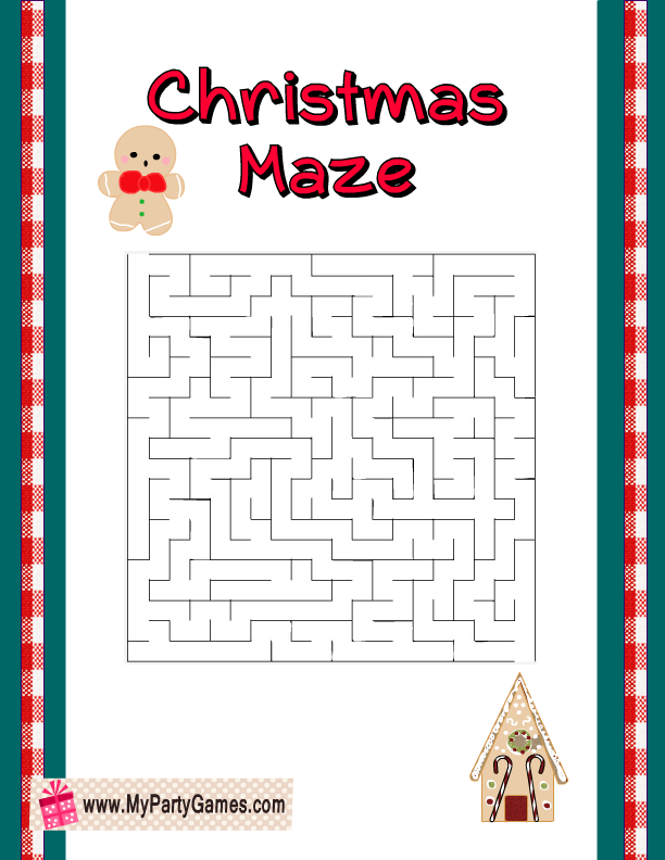 Free Printable Easy Christmas Maze with Gingerbread man