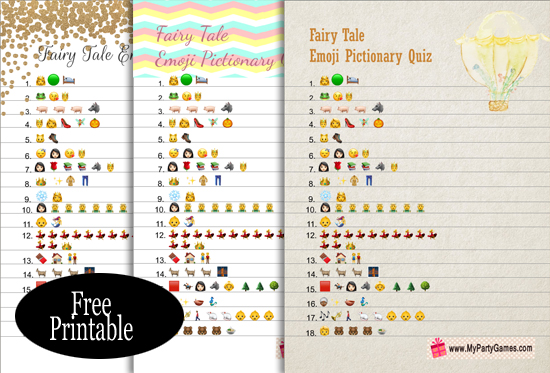 Free Printable Fairy Tales Emoji Pictionay Quiz for Baby Shower
