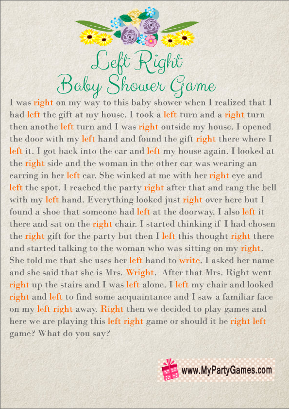 Free Printable Left, Right Baby Shower Game