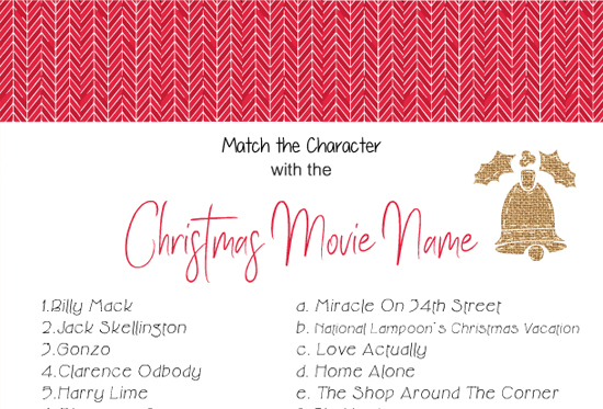 Match the Character with the Christmas Movie Name Game