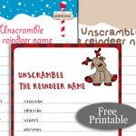 Free Printable Santa's Reindeer Name Scramble Puzzle