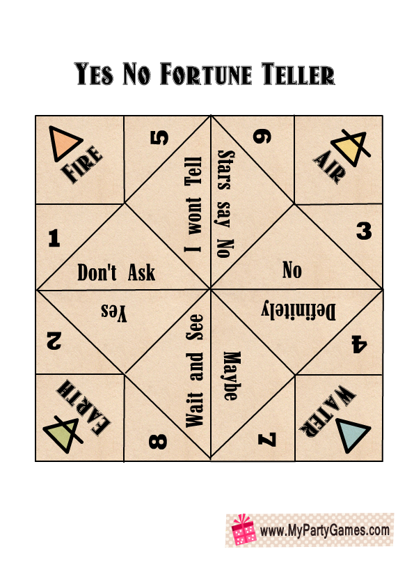 Free Printable Yes, No, Maybe Fortune Teller