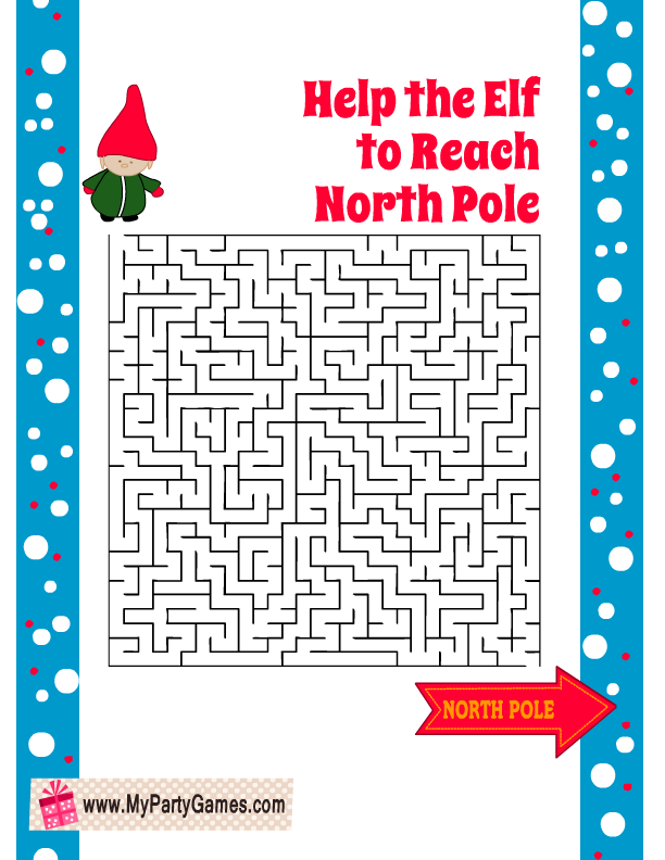 Help the Elf to reach the North Pole, Free Printable Christmas Maze with Solution