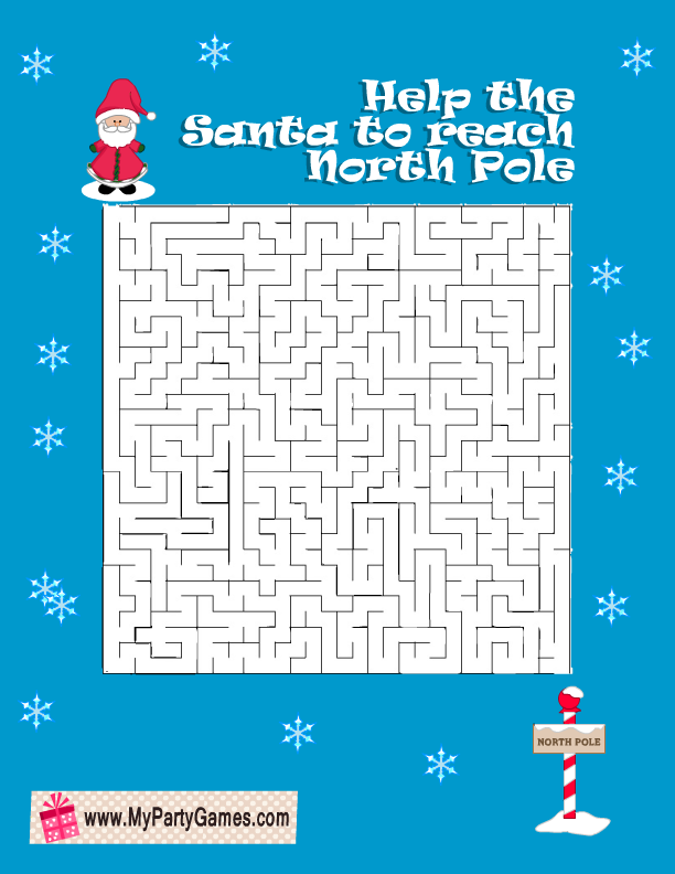 Help the Santa to Reach North Pole Free Printable Christmas Maze with Solution