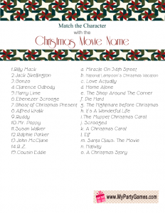 Printable Match the Character with the Christmas Movie Name Game