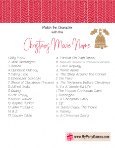 Free Printable Match the Character with the Christmas Movie Name Game