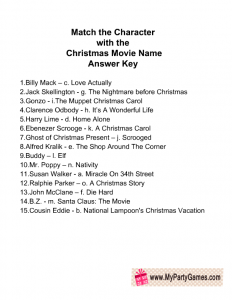Match the Character with the Christmas Movie Name Game Answer Key