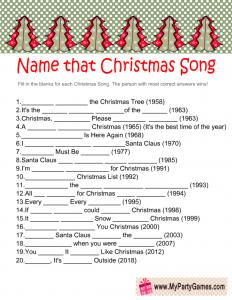 Free Printable Name that Song Christmas Game