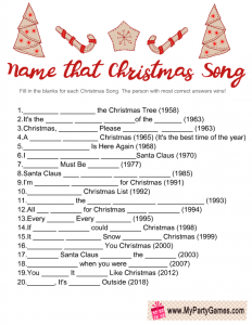 Christmas Song Name Game Printable