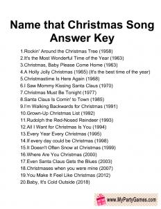 Free Printable Name that Song Christmas Game Answer Key