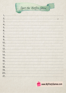 Free Printable, Spot the Netflix Show Game Stationery