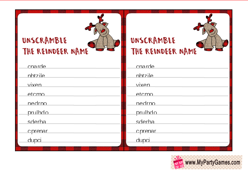 Unscramble the Reindeer Name, Christmas Word Scramble Puzzle
