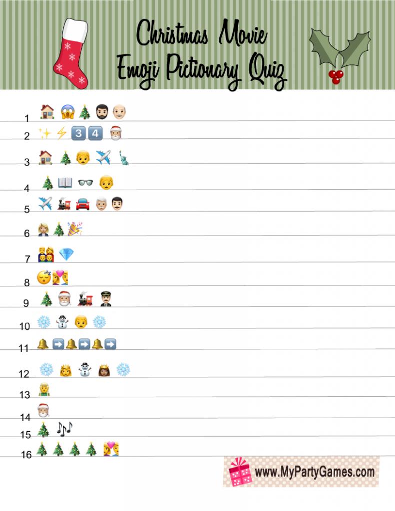 Christmas Movie Emoji Quiz Printable