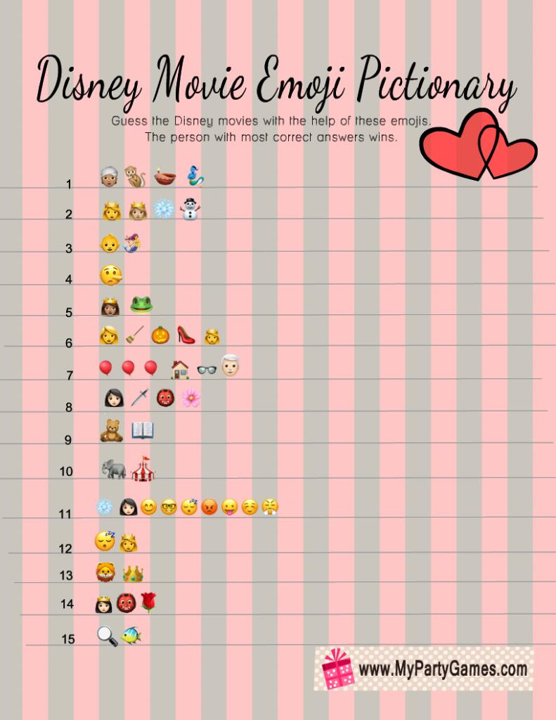 Disney Movie Emoji Pictionary Quiz Free Printable