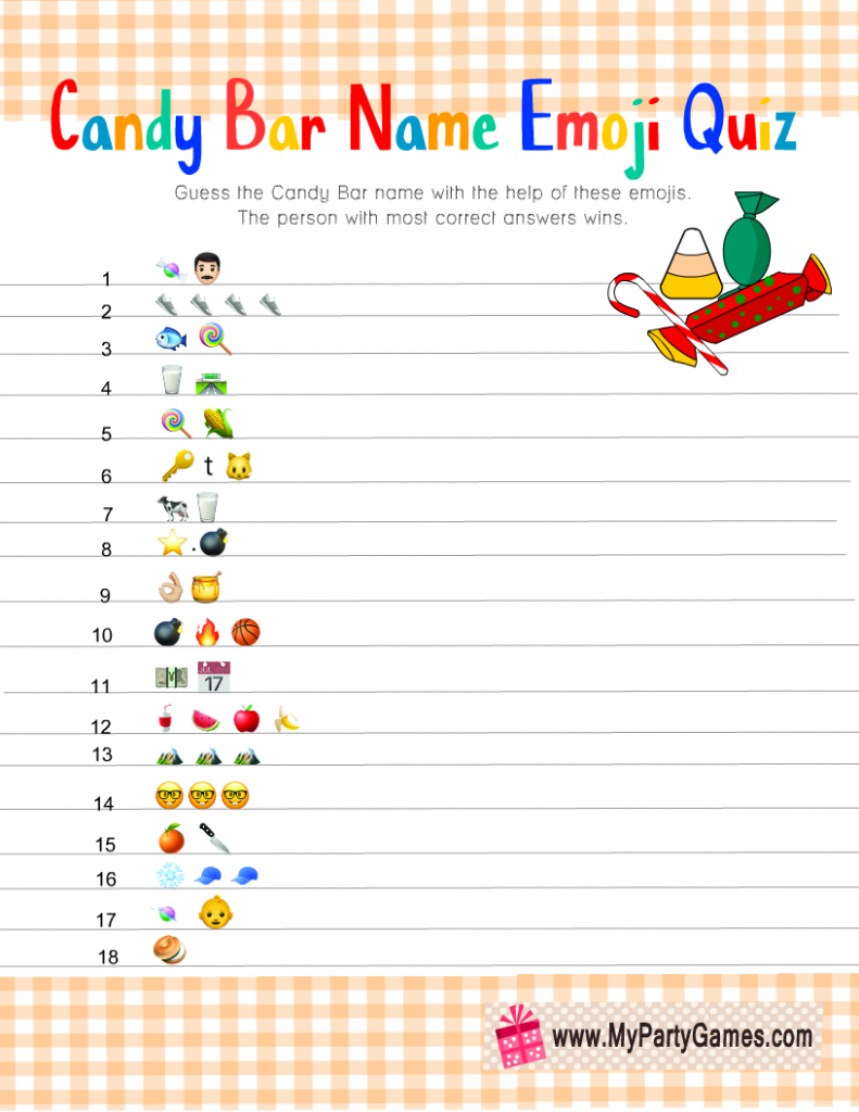 Candy Bar Emoji Quiz Free Printable
