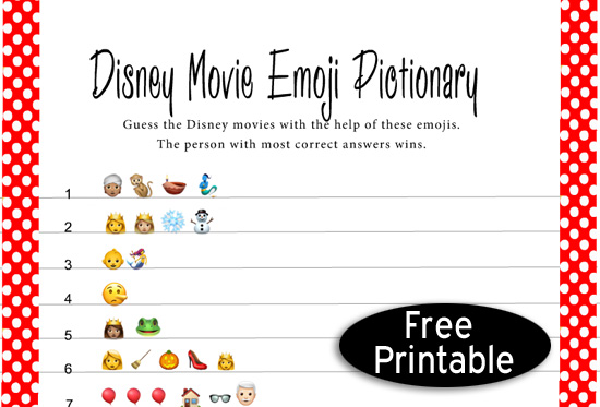 Free Printable Disney Movie Emoji Pictionary Quiz