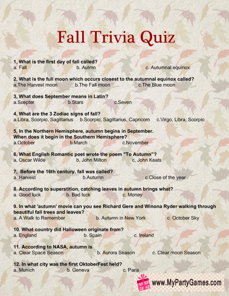 Free Printable Fall Trivia Quiz
