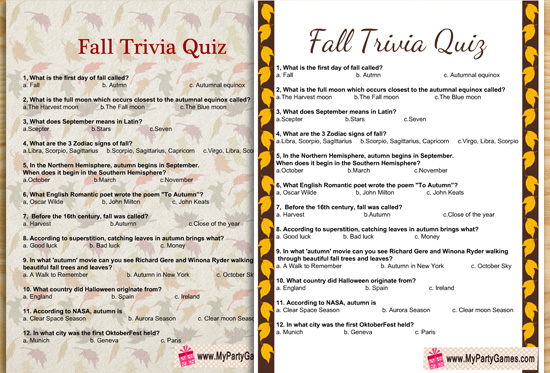 Free Printable Fall Trivia Quiz