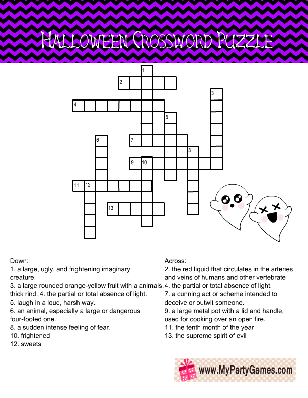 Free Printable Halloween Crossword Puzzle in Purple