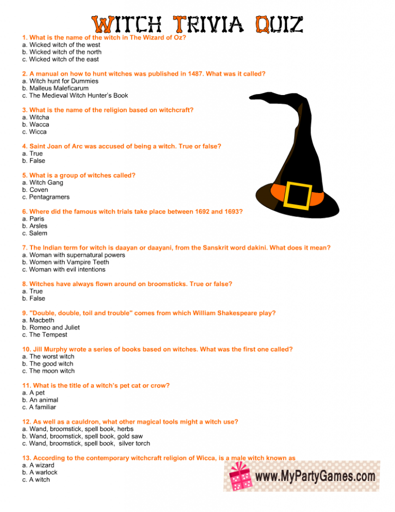 Witch Trivia Quiz for Halloween