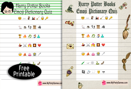 Free Printable Harry Potter Books Emoji Pictionary Quiz