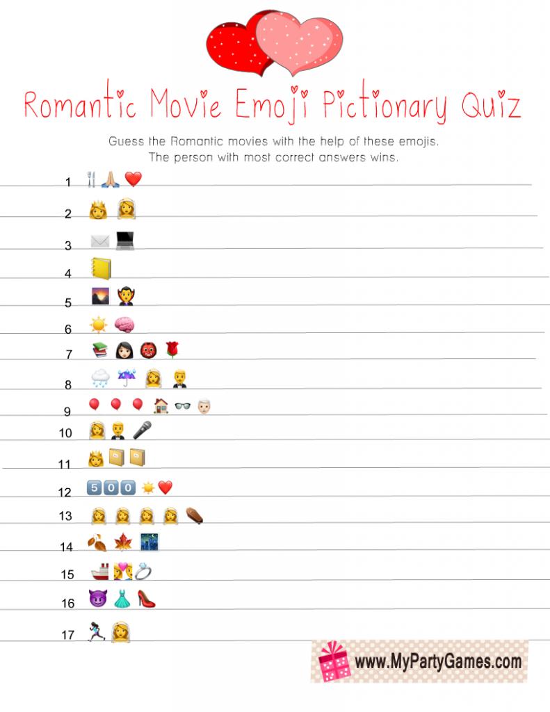 Romantic Movie Emoji Quiz Free Printable