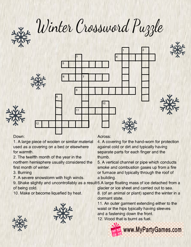 Free Printable Winter Crossword Puzzle