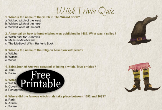 Free Printable Witch Trivia Quiz for Halloween