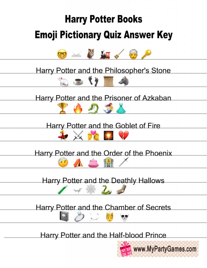 Harry Potter Books Emoji Pictionary Quiz Answer Key
