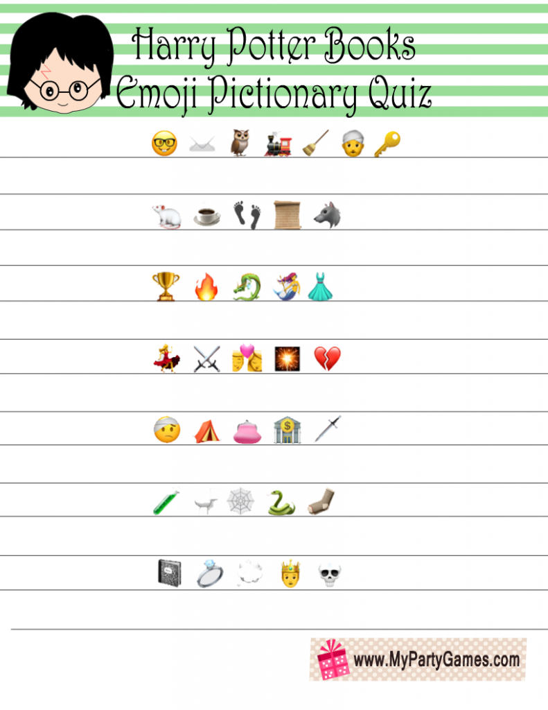 Harry Potter Books Emoji Quiz Printable