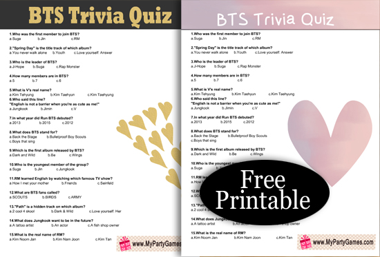 Free Printable BTS Trivia Quiz with Answer Key