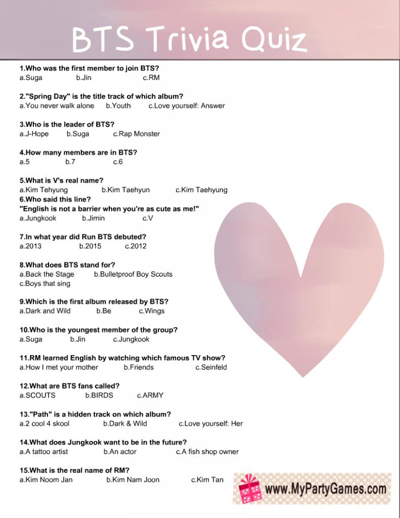 Free Printable BTS Trivia Quiz in Pink