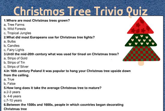 Free Printable Christmas Tree Trivia Quiz