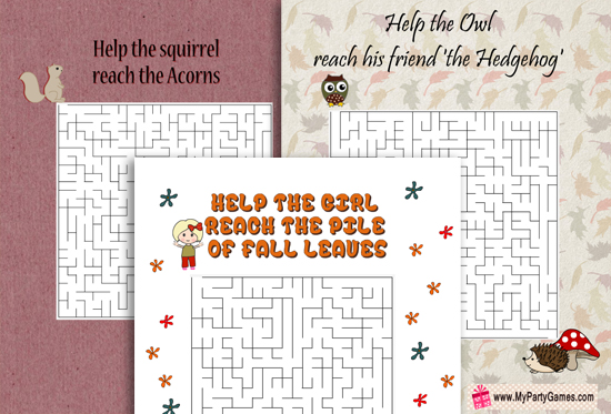 Free Printable Fall Mazes for kids with Solutions