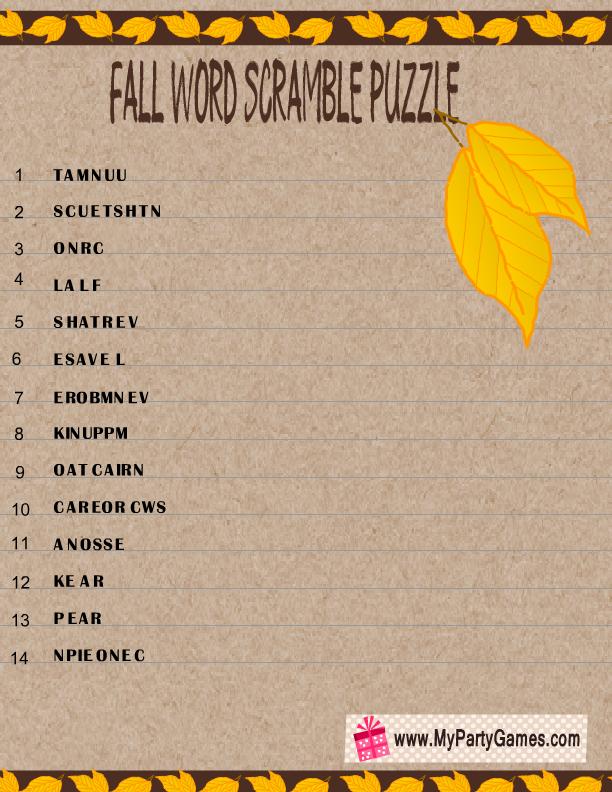 Fall Word Scramble Puzzle Printable