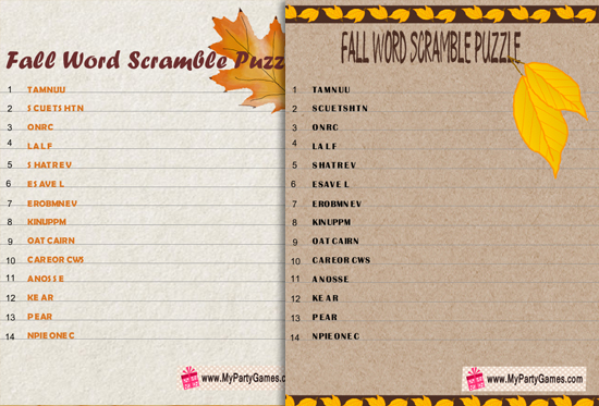Free Printable Fall Word Scramble Puzzle