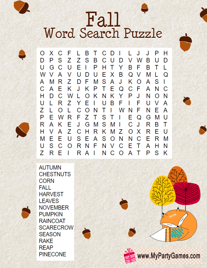 Free Printable Fall Word Search Puzzle With Solution My Party Games