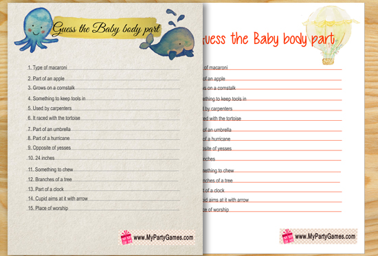 Free Printable Guess the Baby Body Part Game with Key