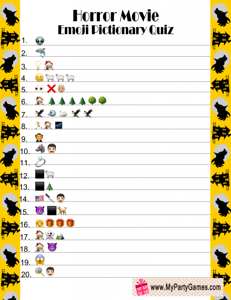Horror Movie Emoji Pictionary Quiz Printable