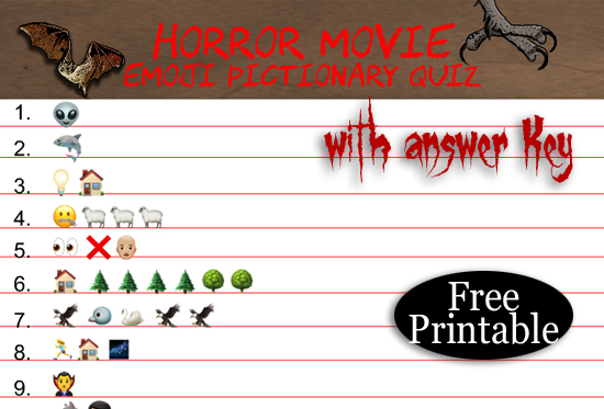 Free Printable Horror Movie Emoji Pictionary Quiz