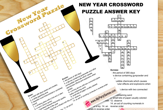 Free Printable New Year Crossword Puzzle for Adults