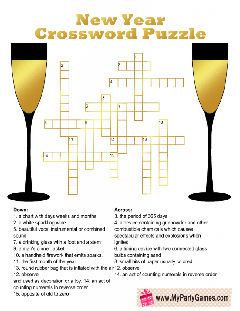 New Year Crossword Puzzle for Adults