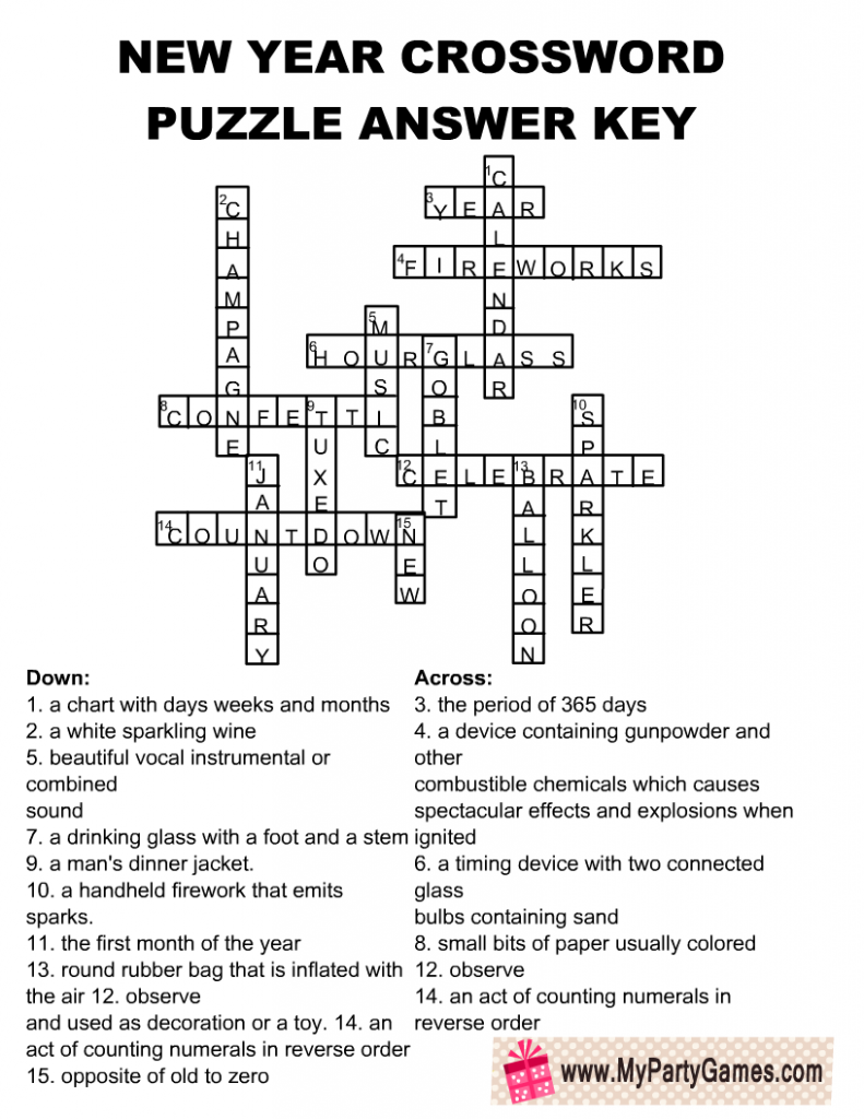 New Year Crossword Puzzle Solution Key