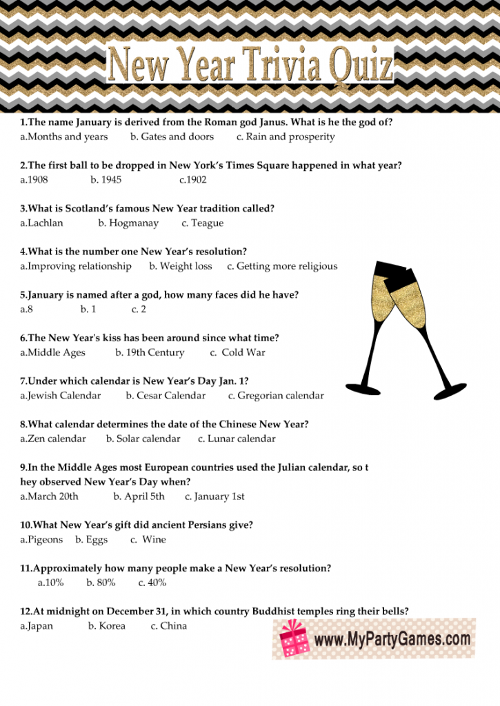 Free Printable New Year Trivia Quiz