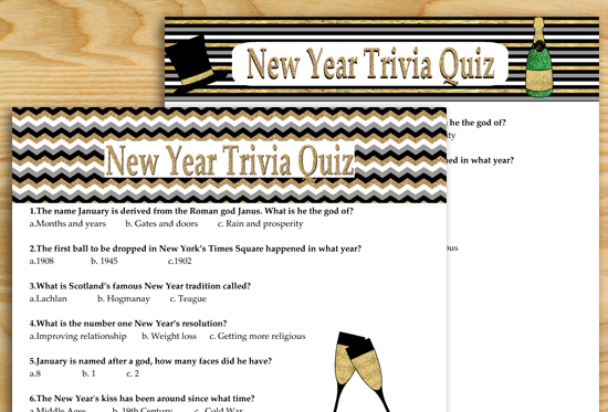 Free Printable New Year Trivia Quiz