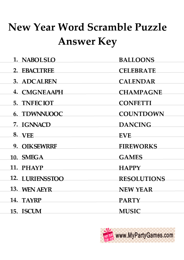 New Year Word Scramble Puzzle Answer Key